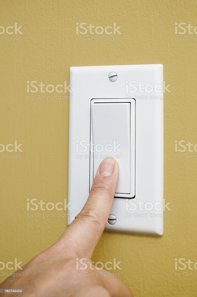 Switching off power stock photo