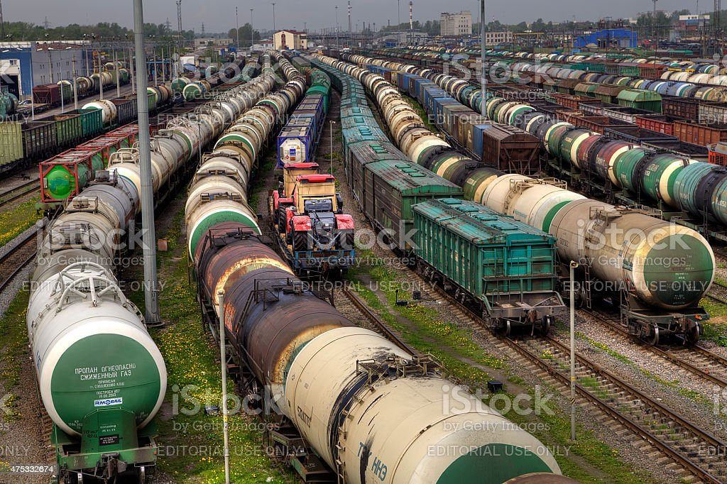 Switchyard, Freight trains on city cargo terminal, Saint Petersburg, Russia. stock photo
