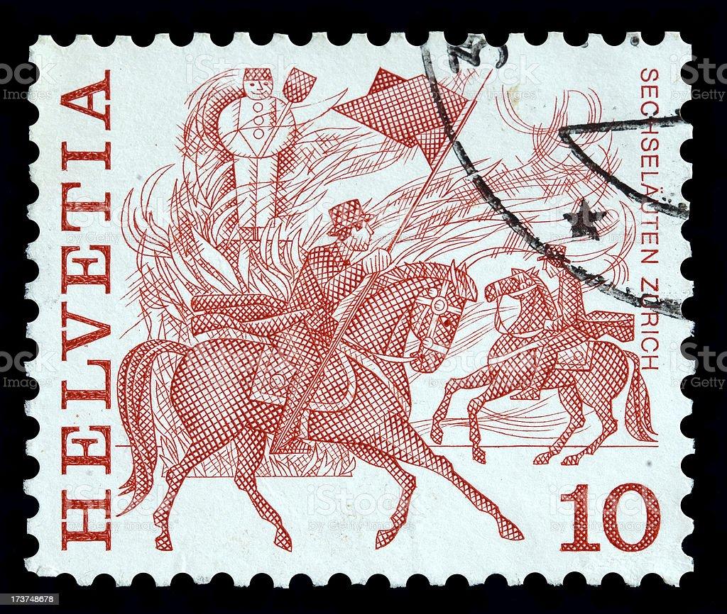 Switzerland 10 cent postage stamp royalty-free stock photo