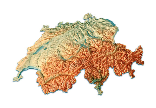 Switzerland 3D Render Topographic Map On White stock photo