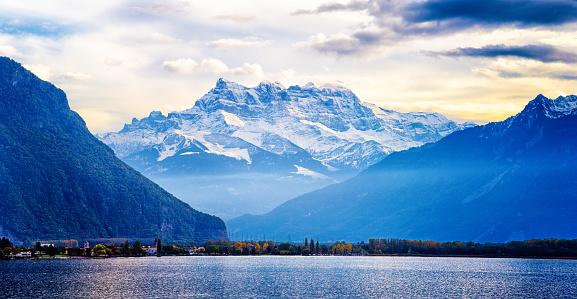 Switzerland Alps panorama at sunset from Lake Geneva