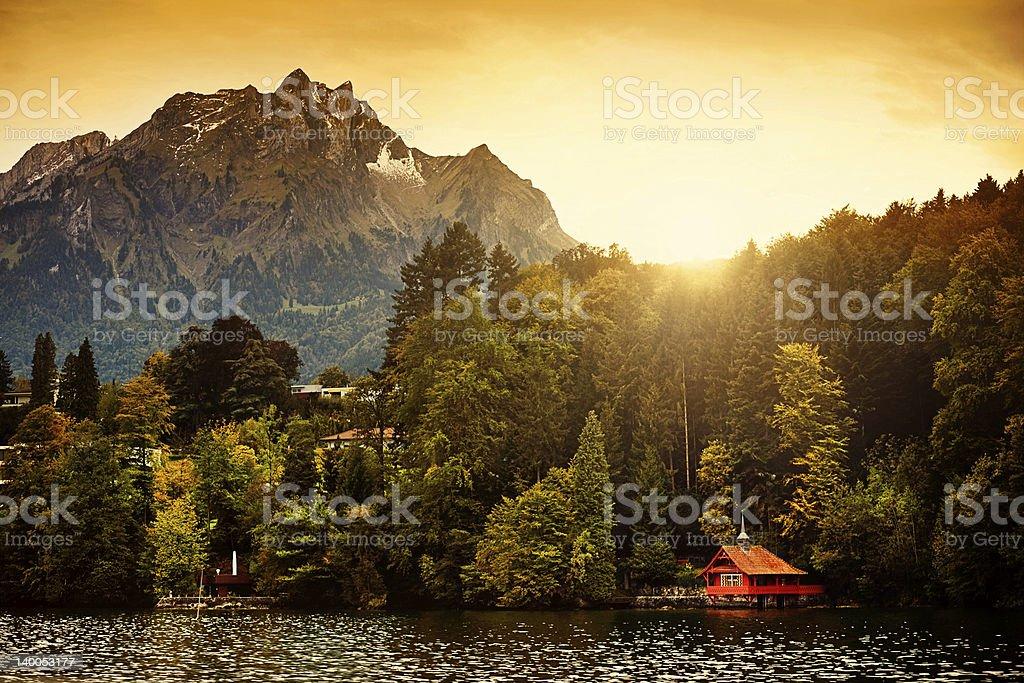 Switzerland Alps Sunrise, Lucerne stock photo