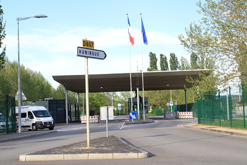 Switzerland and France border check post in Basel Switzerland