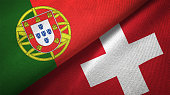 Switzerland and Portugal two flags together realations textile cloth fabric texture