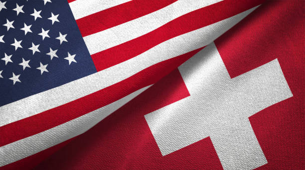 Switzerland and United States two flags together realations textile cloth fabric texture Switzerland and United States flags together realtions textile cloth fabric texture swiss culture stock pictures, royalty-free photos & images