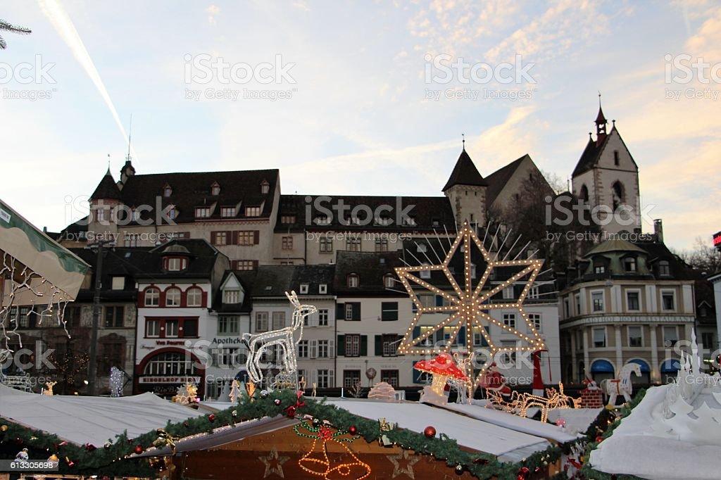 switzerland - basel, christmas market and buildings stock photo
