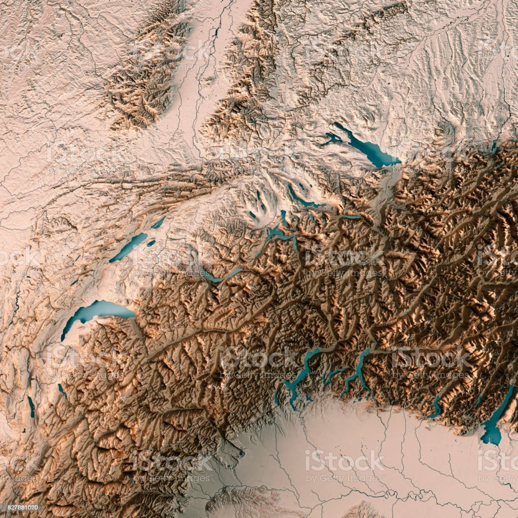 Switzerland Country 3D Render Topographic Map Neutral stock photo