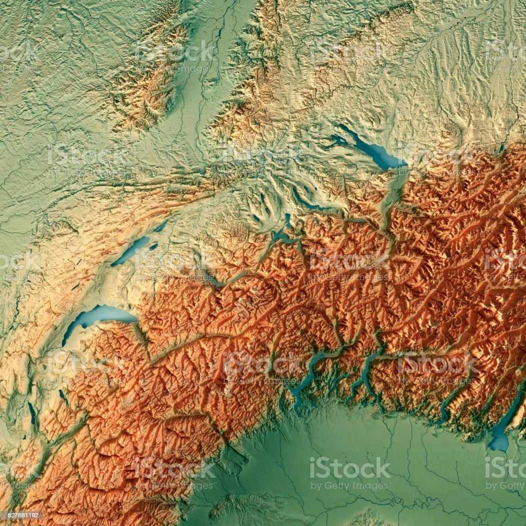 Switzerland Country 3D Render Topographic Map stock photo