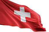 Switzerland flag close-up waving isolated white background