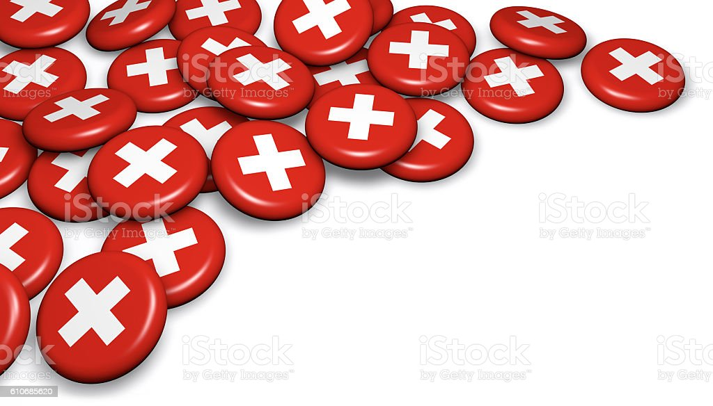 Switzerland Flag On Badges - foto de stock