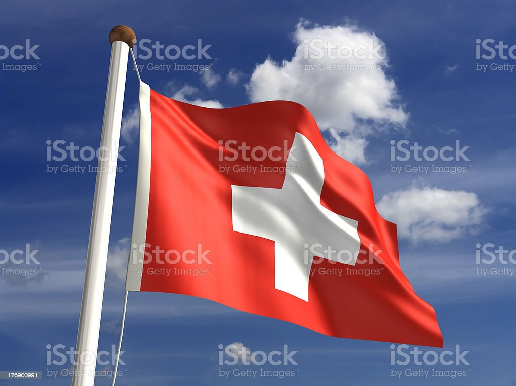 Switzerland flag (with clipping path) stock photo