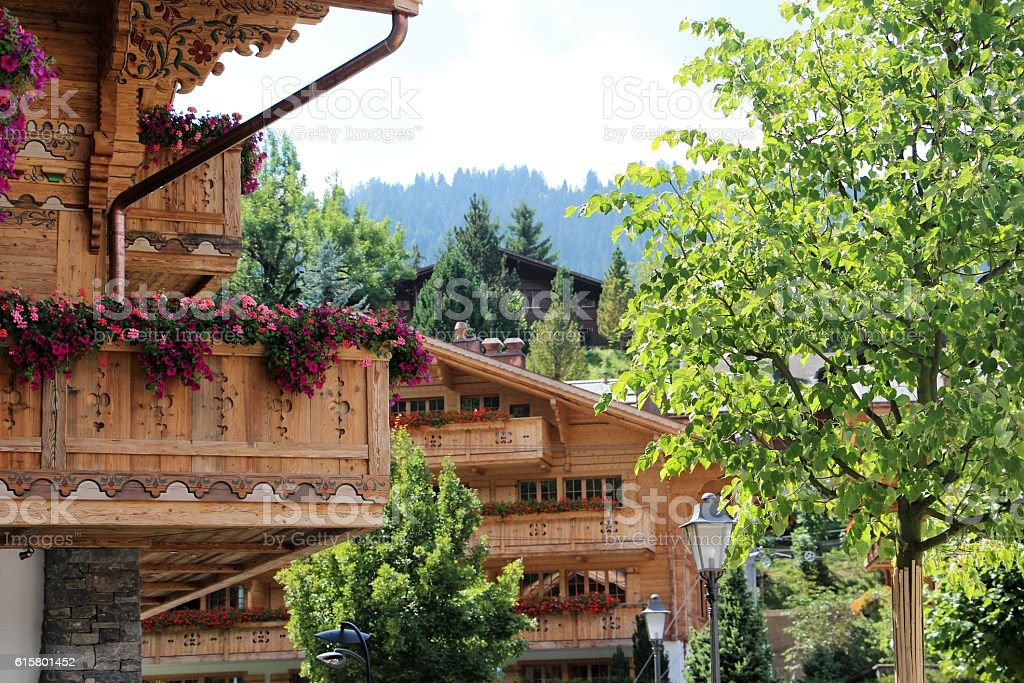 switzerland - gstaad, chalet stock photo