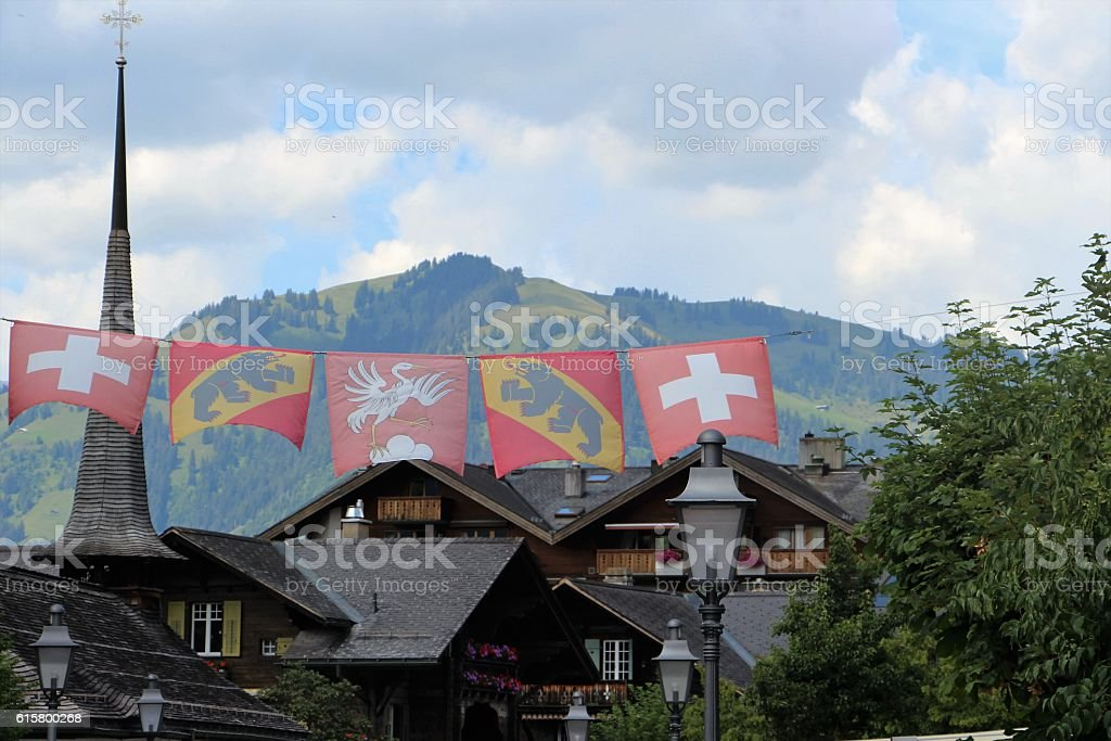 switzerland - gstaad, village stock photo
