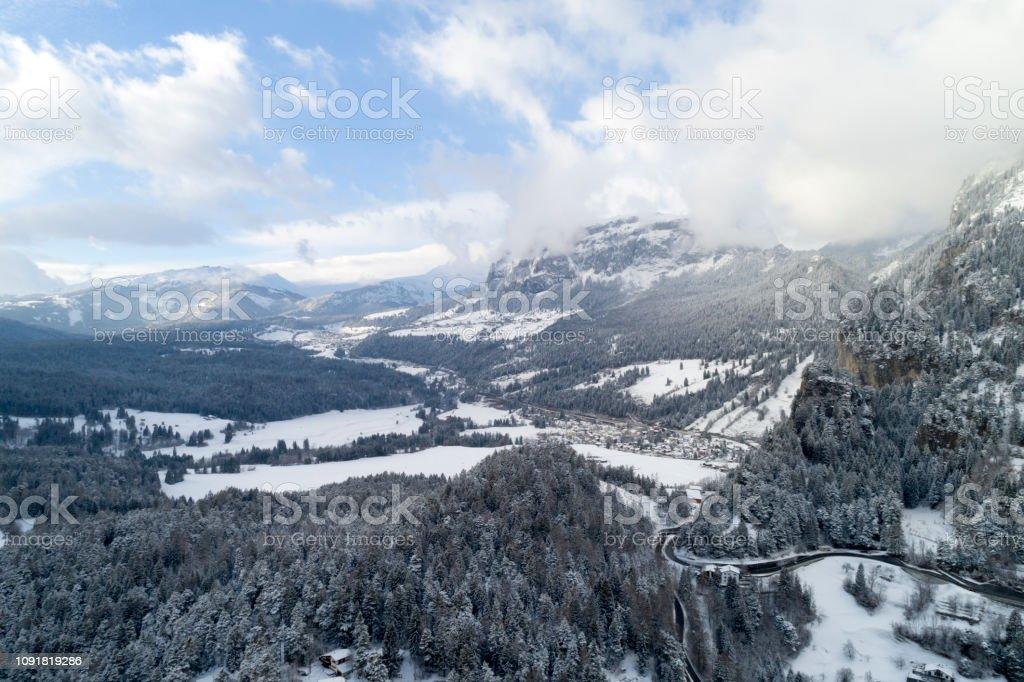 Schweiz im Winter, Luftbild – Foto