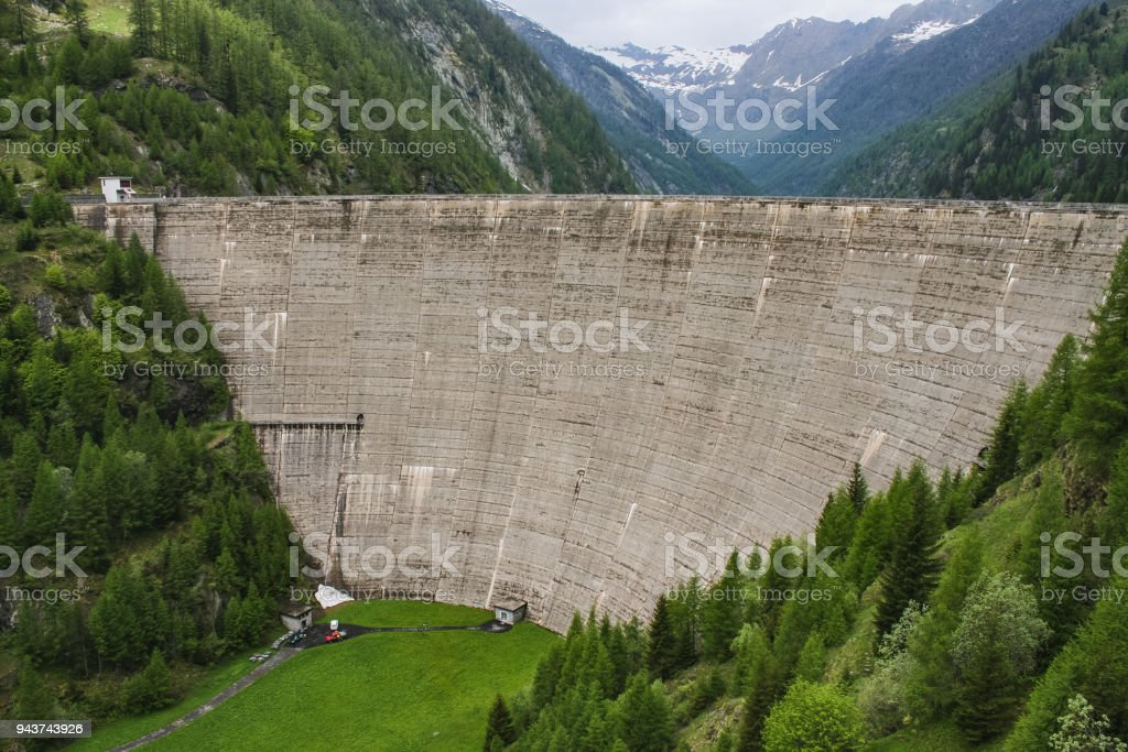switzerland lake of sambuco massive dam Vallemaggia stock photo
