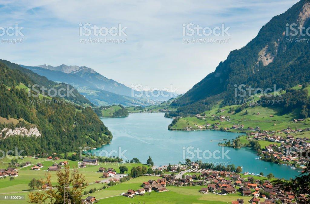 Switzerland. Lungern village in the valley. stock photo