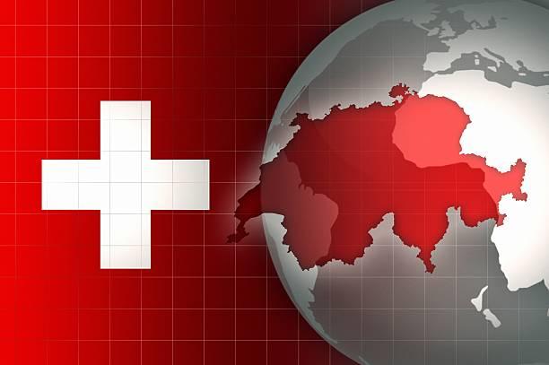 Mapy i Flaga Szwajcarii na świat glob tło – zdjęcie