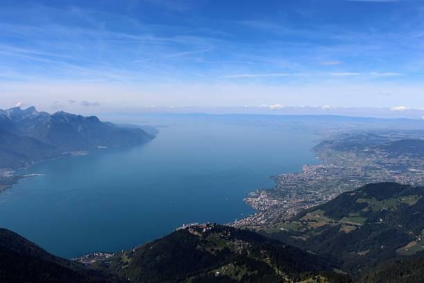 switzerland - montreux et lac léman stock photo