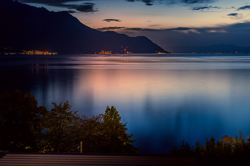 Switzerland, Montreux, night view with lake