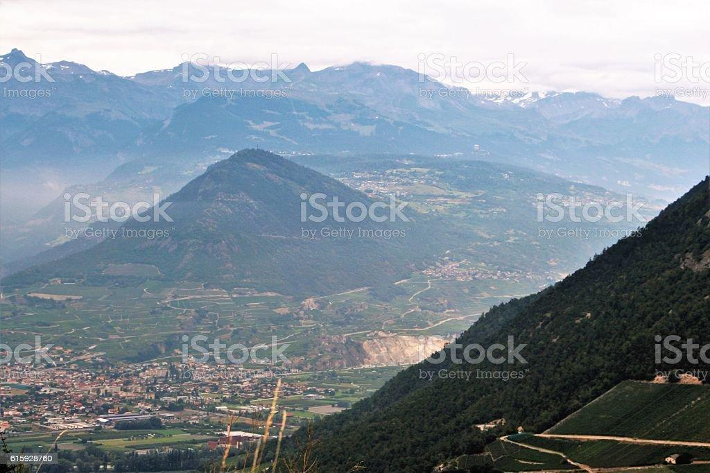 switzerland - mountain in valais stock photo