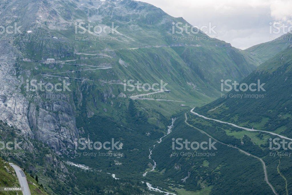 switzerland mountain pass stock photo