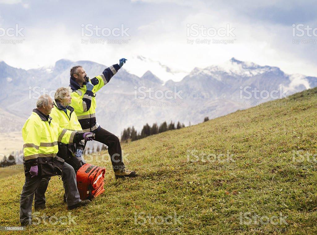 Switzerland Mountain Rescue Team Signaling stock photo