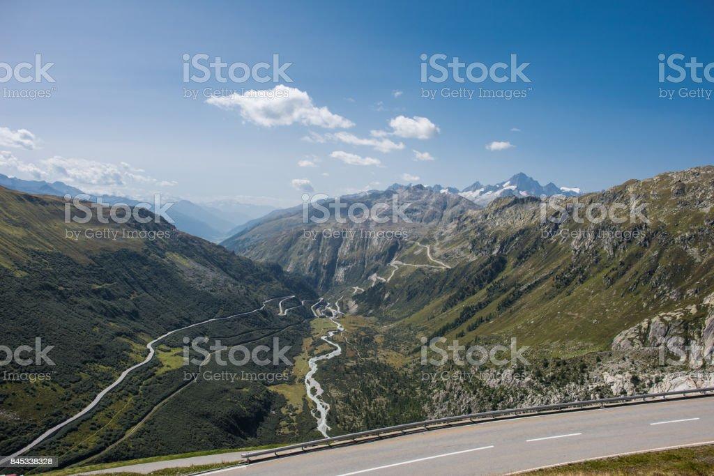 switzerland mountain road stock photo