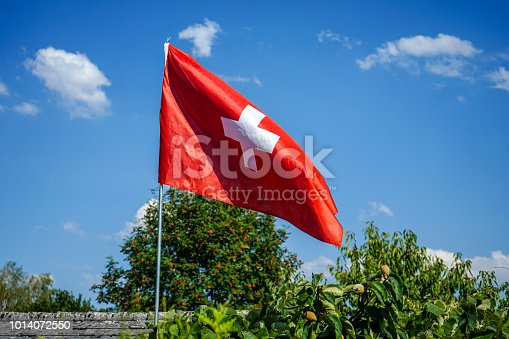 istock switzerland national flag in garden with blue sky 1014072550