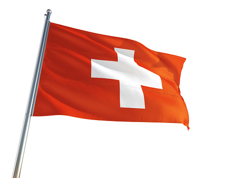 Switzerland National Flag waving in the wind, isolated white background. High Definition