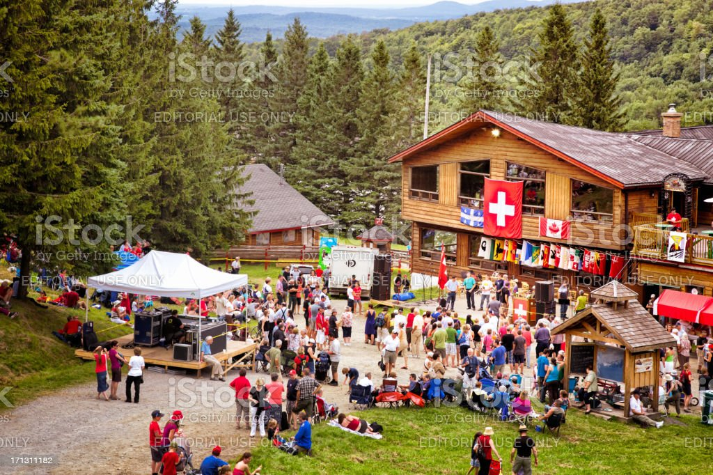Switzerland National Holiday at Mount Sutton stock photo