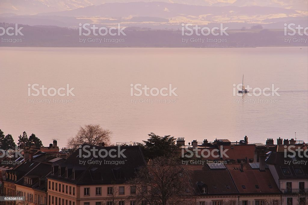 switzerland - neuchatel, lac stock photo