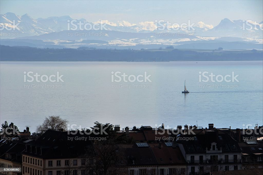 switzerland - neuchatel, lake stock photo