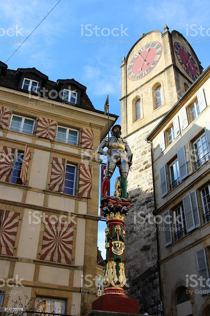 switzerland - neuchatel, old town and 'fountain of banneret' stock photo