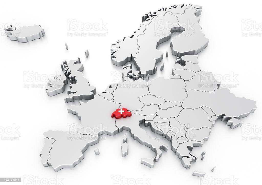 Switzerland on a Euro map royalty-free stock photo