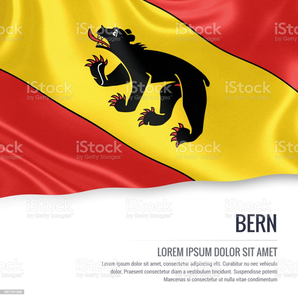 Switzerland state Bern flag waving on an isolated white background. State name and the text area for your message. 3D illustration. stock photo