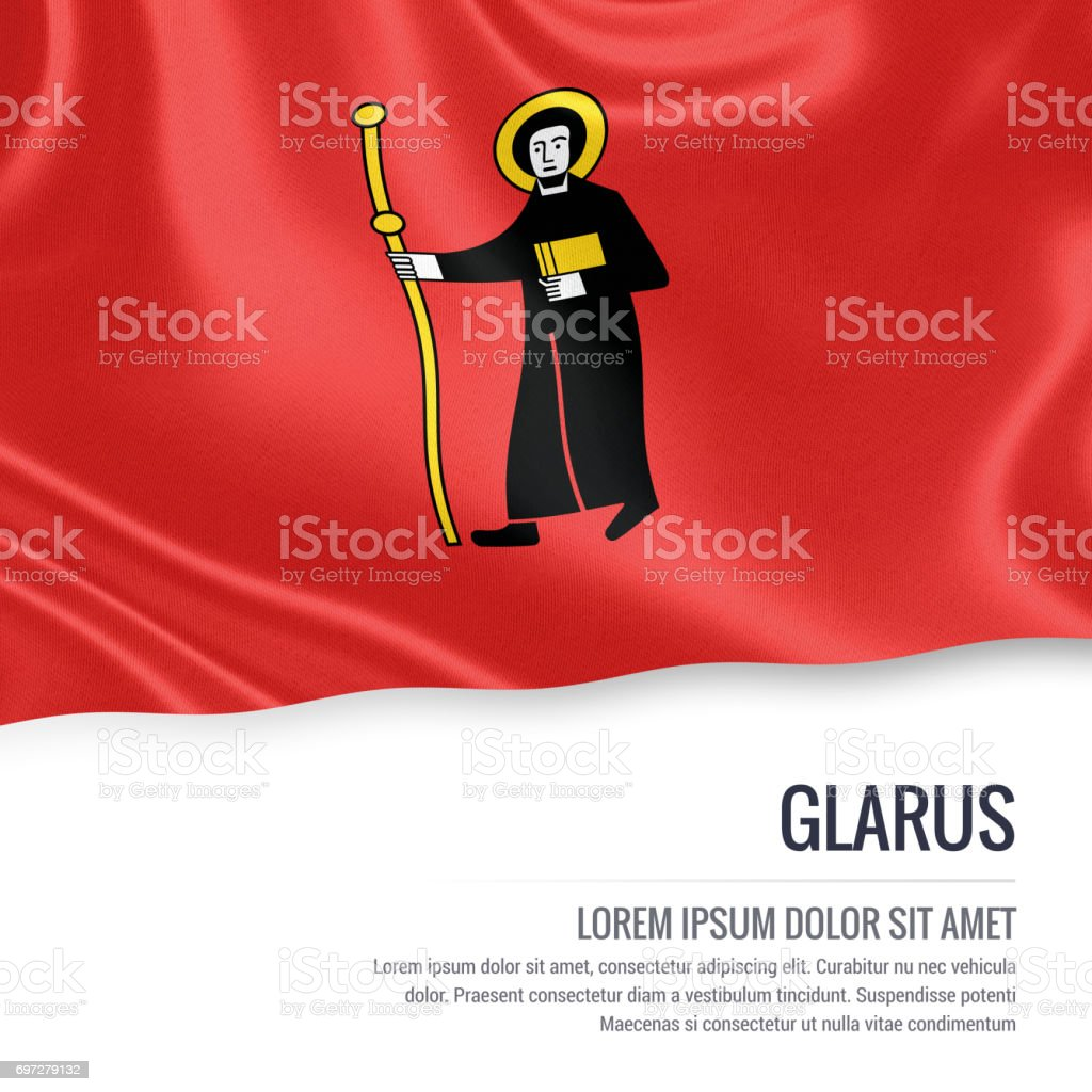 Switzerland state Glarus flag waving on an isolated white background. State name and the text area for your message. 3D illustration. stock photo