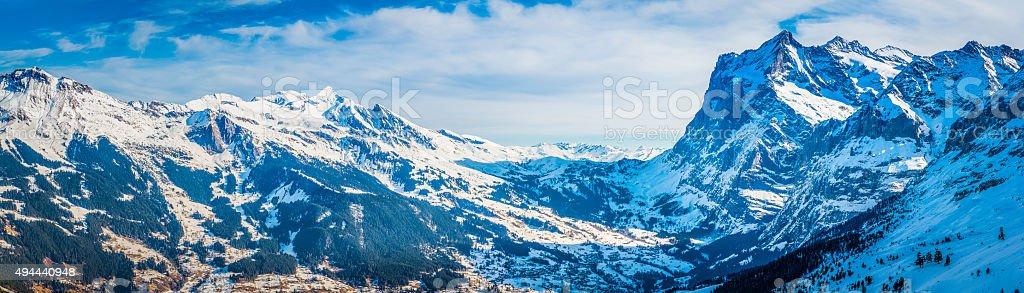 Switzerland Wetterhorn Schwarzhorn mountain peaks panorama Gindelwald ski resort Alps stock photo