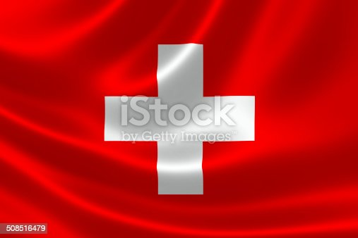 3D rendering of the flag of Switzerland on satin texture.
