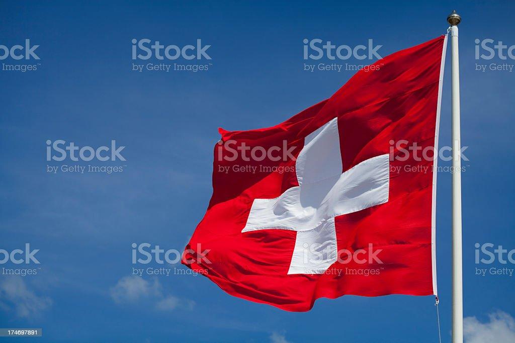 Switzerland's national flag flying stock photo