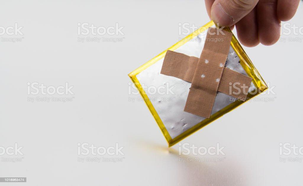 svullet batteri bildbanksfoto