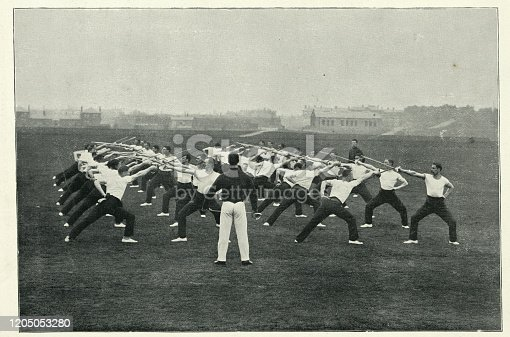 Vintage photograph of Sword class drill at Aldershot, British military training, 1890s.  19th Century