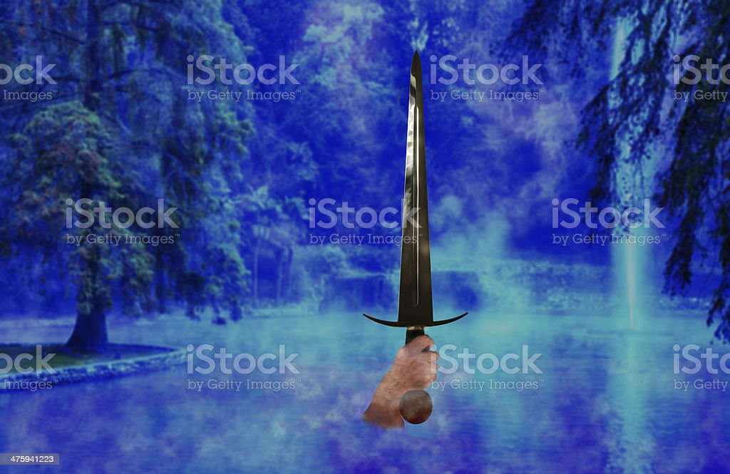 Sword from the lake stock photo