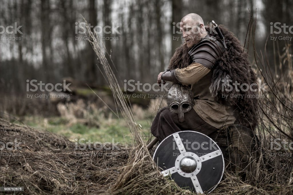 Sword wielding bloody viking warrior alone in a winter forest stock photo