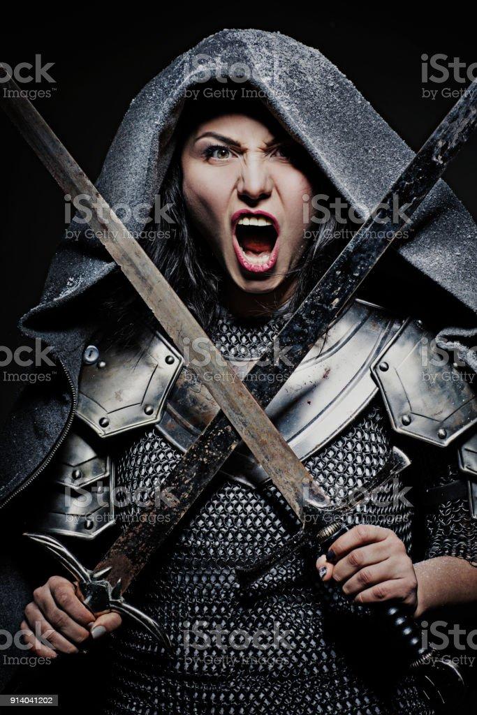 Female Viking Character stock photo. Image of arrow