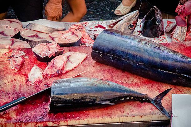 swordfish at Catania fish market, Sicily stock photo