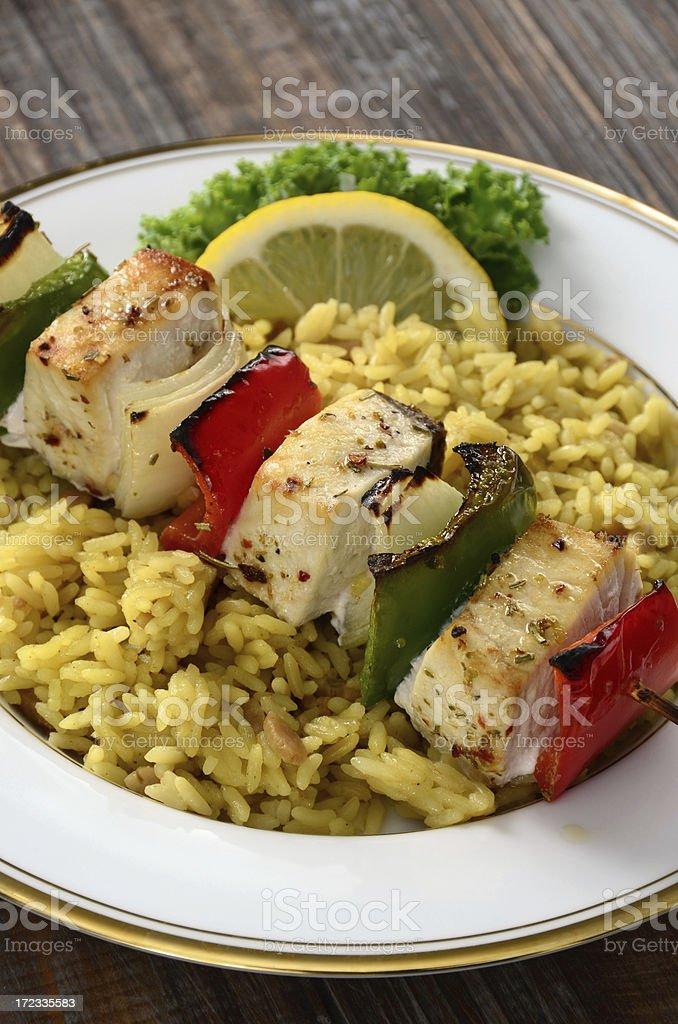 Swordfish Kebab royalty-free stock photo