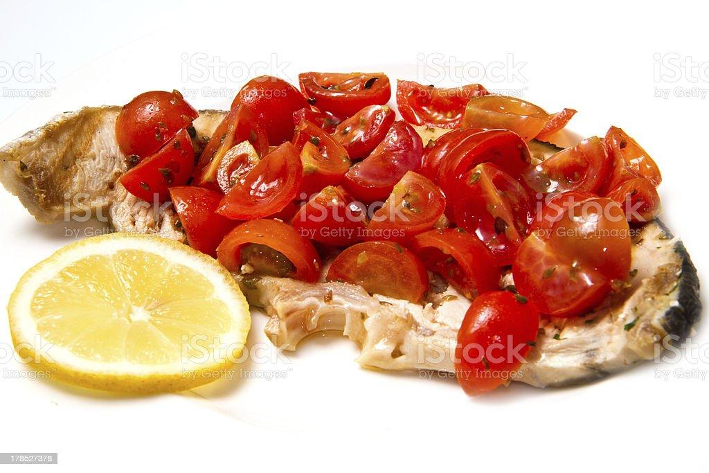 swordfish with tomatoes royalty-free stock photo