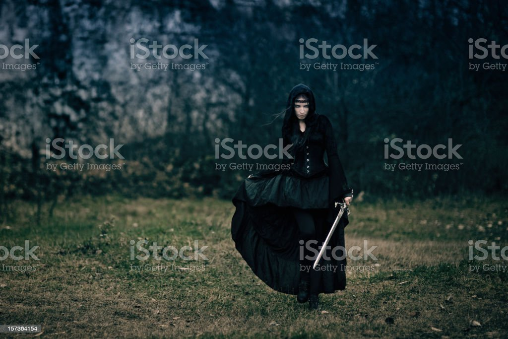 Swordswoman royalty-free stock photo