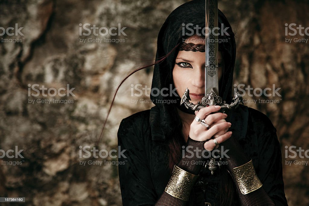 Swordswoman stock photo