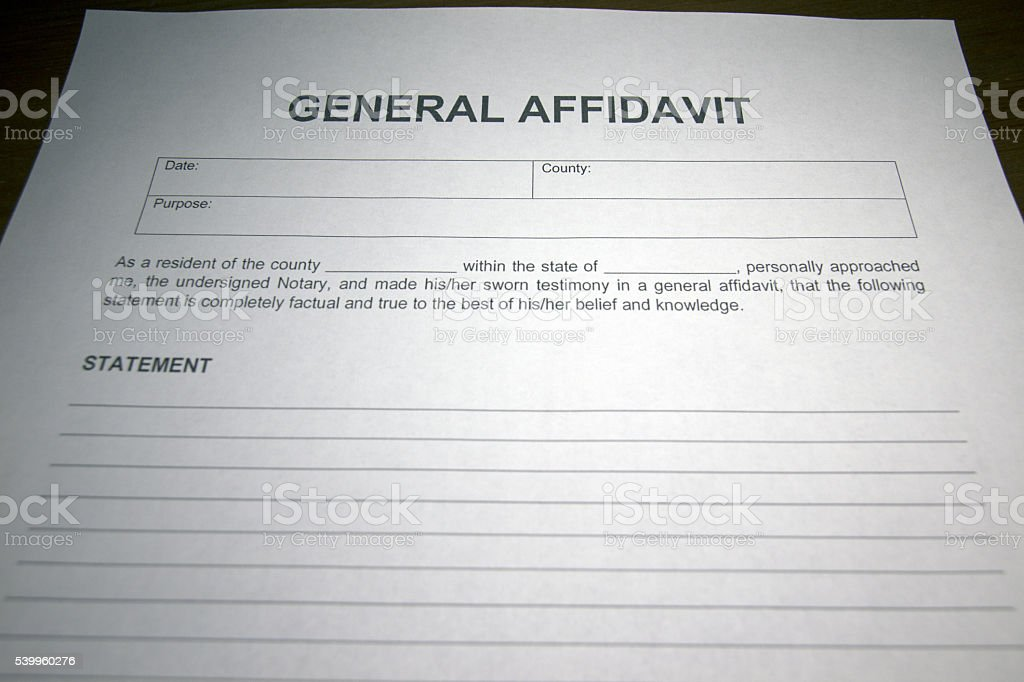 Sworn Statement Template stock photo